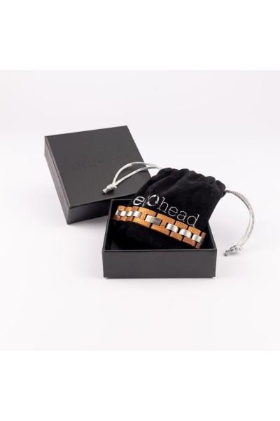 Drevený náramok na ruku - Mahagónová sila v darčekovej krabičke