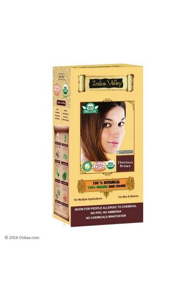 Indus Valley 100% Rastlinná, 100% Organická farba na vlasy Gaštanovohnedá 120 g