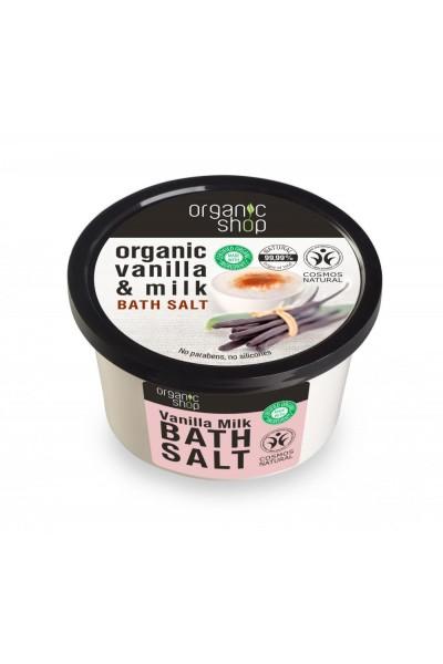 Organic Shop Organic Shop - Vanilka a mlieko - Soľ do kúpeľa 250 ml 250 ml