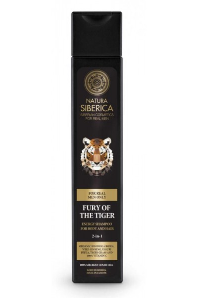 Natura Siberica Energizujúci šampón pre telo aj vlasy 2 v 1 Zúrivosť tigra 250 ml