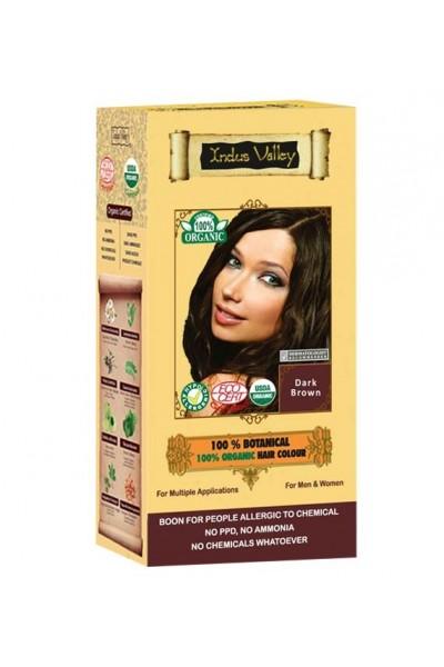 Indus Valley 100% Rastlinná, 100% Organická farba na vlasy Tmavohnedá 120 g