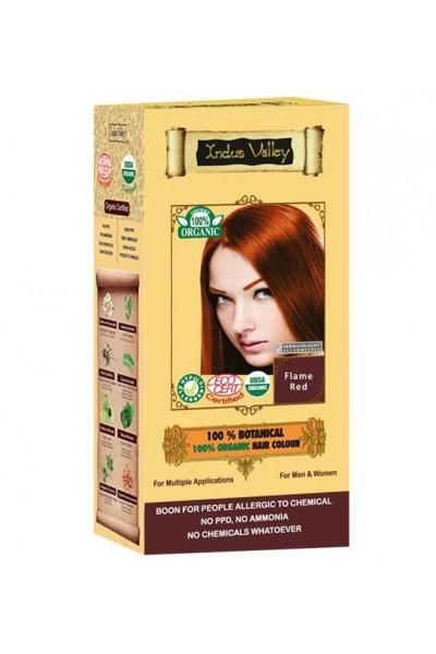 Indus Valley 100% Rastlinná, 100% Organická farba na vlasy Ohnivočervená 120 g