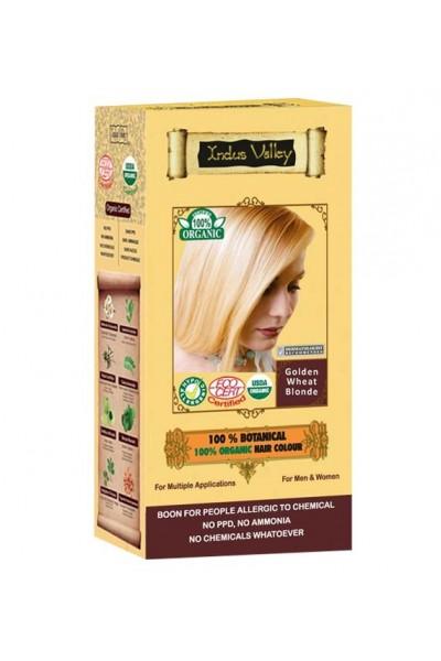 Indus Valley 100% Rastlinná, 100% Organická farba na vlasy Zlatá blond 120 g