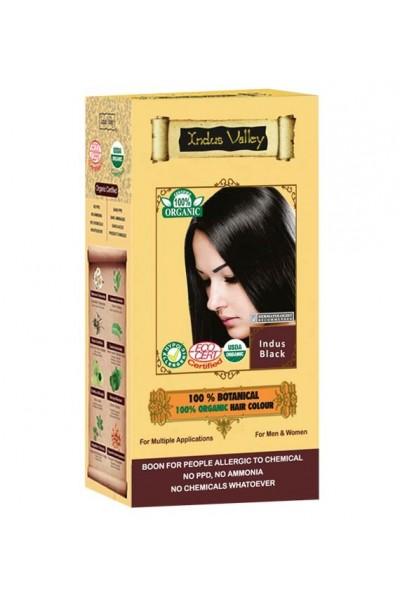 Indus Valley 100% Rastlinná, 100% Organická farba na vlasy Indus Čierna 120 g