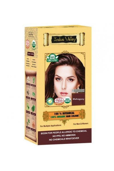 Indus Valley 100% Rastlinná, 100% Organická farba na vlasy Mahagónová 120 g