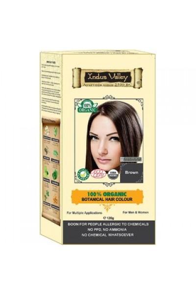 Indus Valley 100% Rastlinná, 100% Organická farba na vlasy Hnedá 120 g