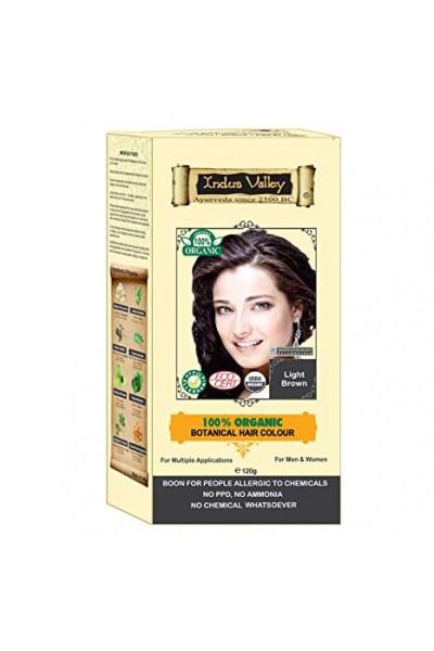 Indus Valley 100% Rastlinná, 100% Organická farba na vlasy Svetlohnedá 120 g