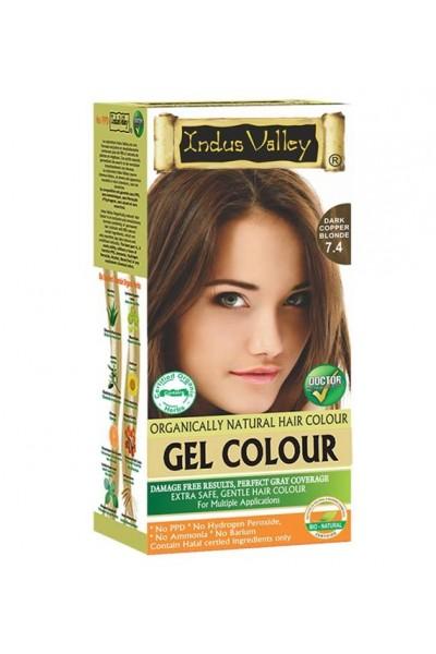 Indus Valley Gélová farba na vlasy Tmavomedená Blond 7.4 20g+120ml+50ml+30ml
