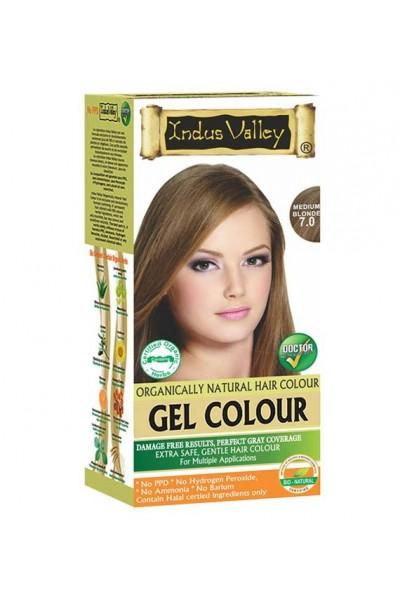 Indus Valley Gélová farba na vlasy Stredná Blond 7.0 20g+120ml+50ml+30ml