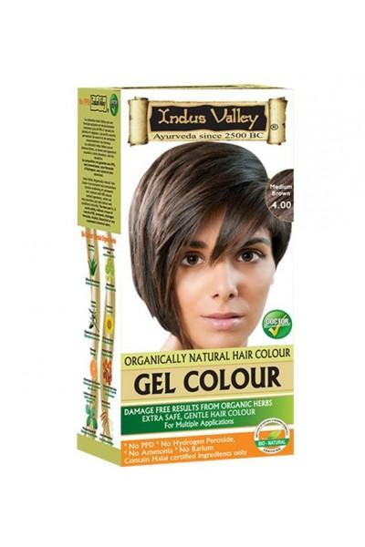 Indus Valley Gélová farba na vlasy Hnedá 4.0 20g+120ml+50ml+30ml