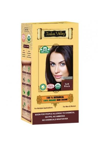 Indus Valley 100% Rastlinná, 100% Organická farba na vlasy Jemná Čierna 120 g