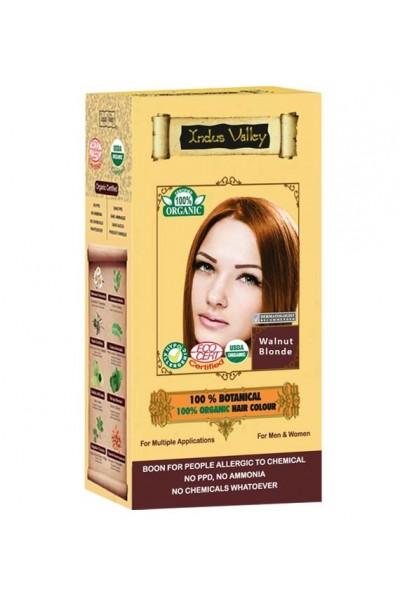 Indus Valley 100% Rastlinná, 100% Organická farba na vlasy Oriešková Blond 120 g